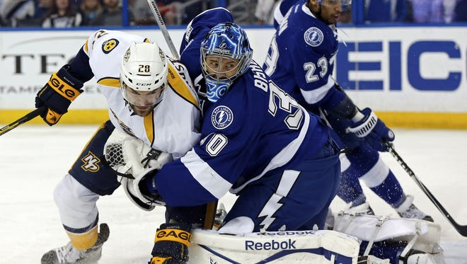 The Predators reached 100 points for the fifth time in franchise history by defeating the Lightning.