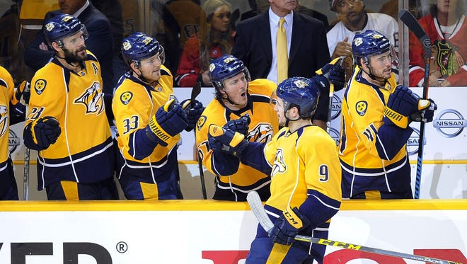 Filip Forsberg celebrates his third-period goal, the first of his playoff career.