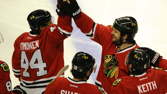 Blackhawks defenseman Brent Seabrook's game-winning goal gave Chicago a 3-1 series lead.