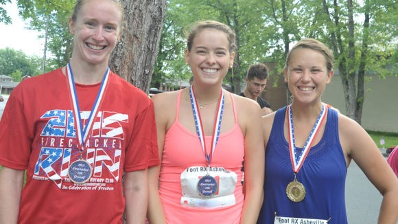 The top female finishers in the Brevard Rotary 10K race July 4 at Brevard College.