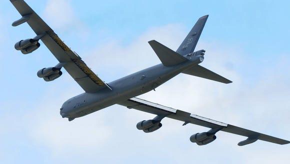 The B-52 landed in Oshkosh on Friday July 17, 2015