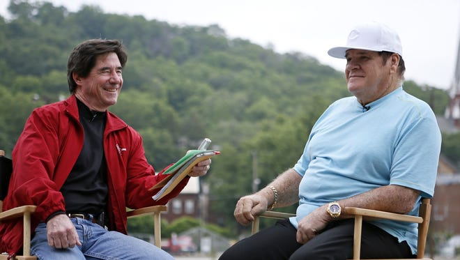 Major League Baseball's all-time hits leader, Pete Rose, reminisces with Enquirer columnist Paul Daugherty at BoldFace Park in the Sedamsville neighborhood of Cincinnati on Tuesday, June 2. Rose spoke candidly about his upbringing near the banks of the Ohio River, his family, multi-sport youth career and the lessons of his father, whom he credits with making him the player he was.