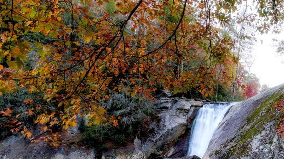 Although leaves have peaked in the High Country, autumn remains colorful and vibrant, as demonstrated in this photo from Elk River Falls, located near the North Carolina-Tennessee border.