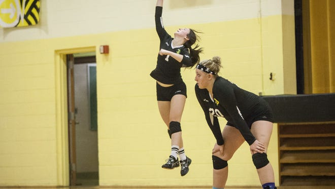 Daleville's Zannah Weber serves the ball in a match against Cowan for the Cowan Sectional championship on Oct. 24.