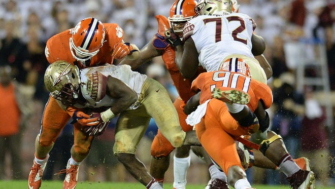 Clemson's defense came up with several big second-half stops against Florida State, including Ben Boulware's hit on Dalvin Cook on a fourth-and-one play with 6:30 left to play.