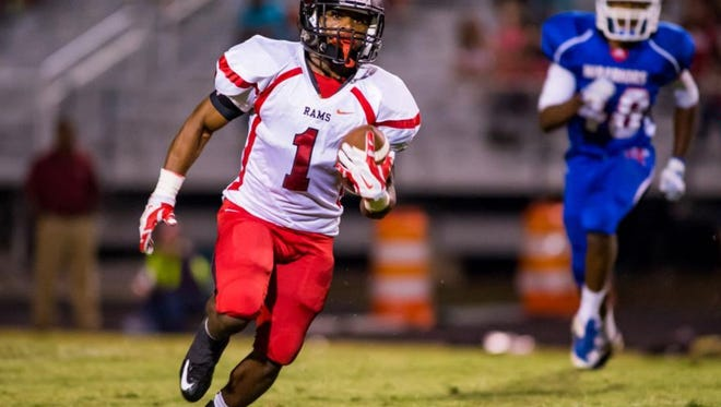 Senior running back Quintavis Ballenger (1) and the Hillcrest Rams will play at Goose Creek in a Class AAAA Division I  second-round game Friday night.