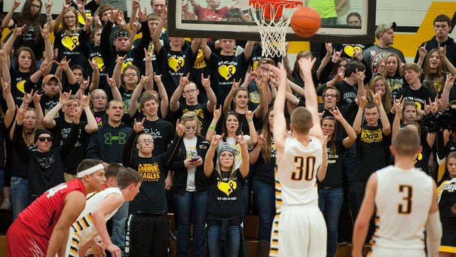 The Eagles Nest watching Harley Shaum shoot a free throw on Saturday night.