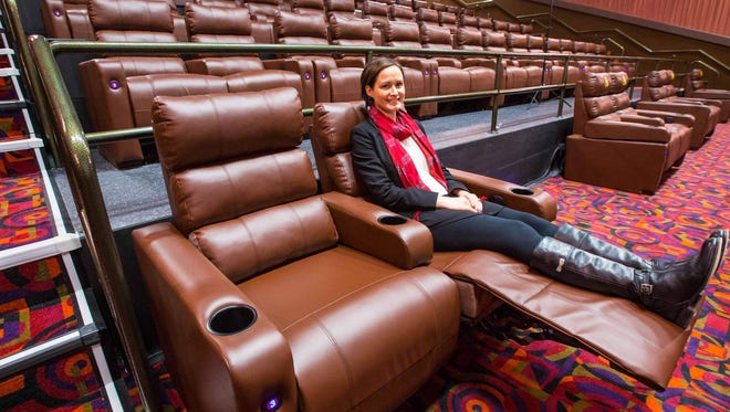 The new Cinemark Altoona and XD theater opens Thursday at 2227 Adventureland Drive, N.W. in Altoona. The theater features large, electric lounge chairs demonstrated here by Madelyn Rybczyk, marketing manager.