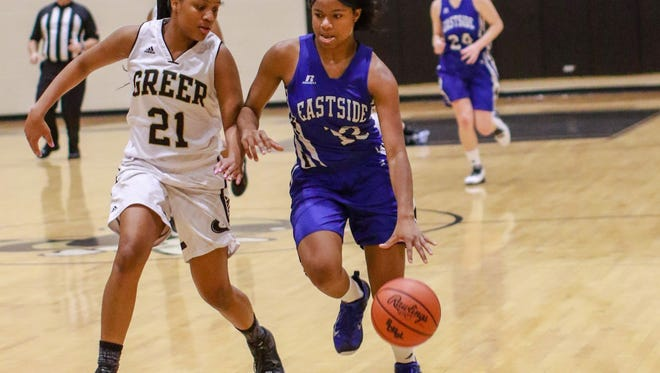 Taylor Thompson, right, and the Eastside Eagles will host Lower Richland Tuesday night after their game Monday was postponed.