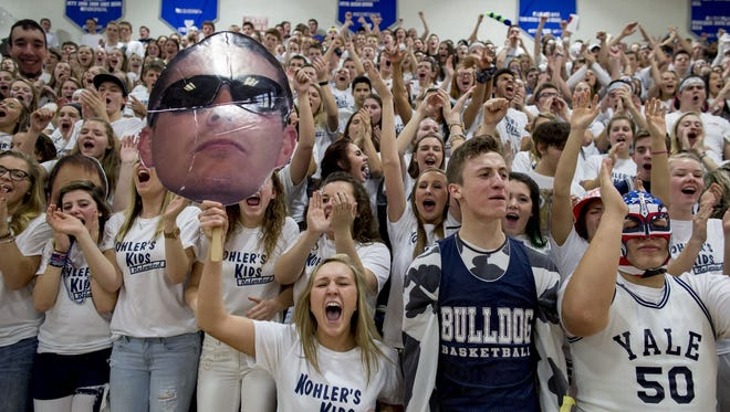 Yale students cheer during a basketball game Friday, Jan. 15, 2016 at Yale High School.