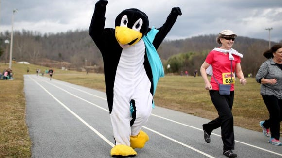 The Frosbite Races penguin mascot cheers on runners during the 5K and 10K races Sunday, Feb. 21, in Fletcher, N.C.