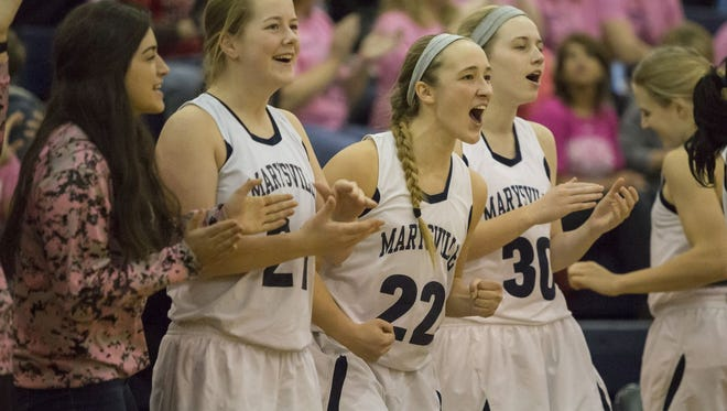 Marysville players cheer during a basketball game Friday, Feb. 5, 2016 at Marysville High School.