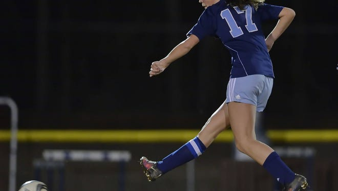 Southside Christian's Ashlyn Franks takes a shot on goal in the first half Monday night. Franks scored in the second half to lift the Sabres to a 1-0 win at Christ Church.
