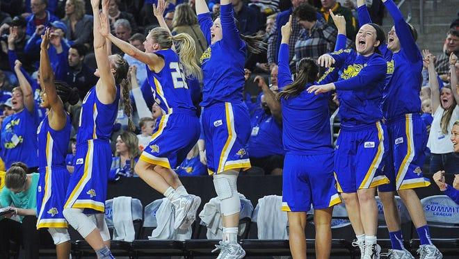 SDSU's women celebrate their Summit League tournament win over USD