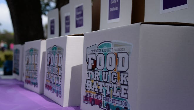 Voting bins for VIP attendees to vote for their favorite beer, wine and food truck during the Food Truck Battle. Put on by The Madee Project, which helps families and children with pediatric cancer, the fundraising event gathered 12 trucks and multiple local beer and wine participants to the battle in 2015 at the Frontier Culture Museum.