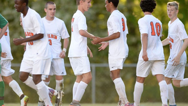 Mauldin's boys soccer team, shown during its second-round win over Easley, lost in the third round Thursday night  against Clover.