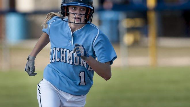 Richmond's Carley Barjaktarovich runs for third during a softball game Tuesday, May 3, 2016 at Croswell-Lexington High School.