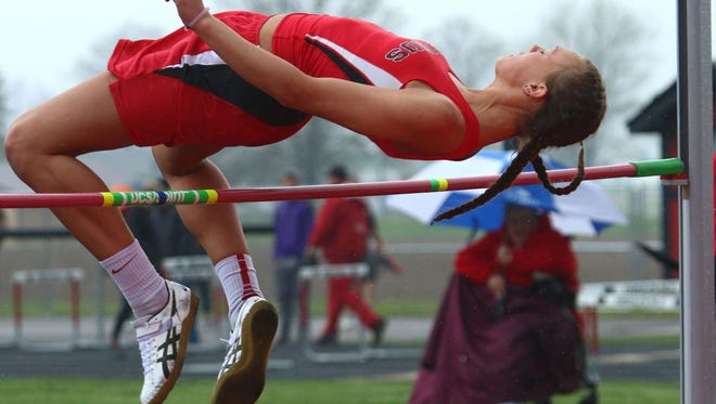 Bucyrus senior Gabby Seibert finished fourth in the high jump competition at the Crawford County Track Meet. Seibert finished tied for second in the high jump  at the Crawford County Track Meet.