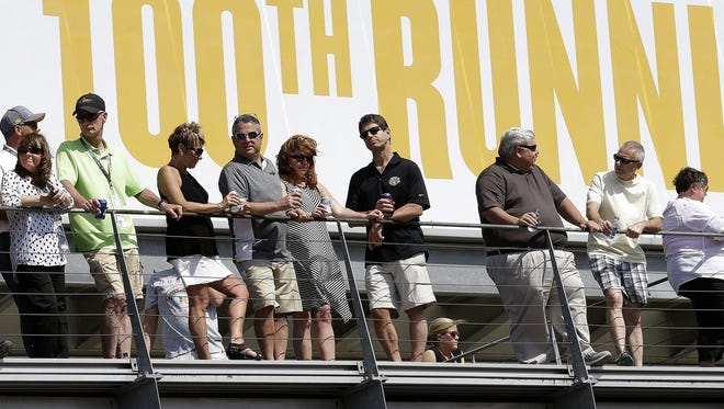 IndyCar fans watch qualifying for the Indianapolis 500 on Armed Forces Pole Day Sunday, May 22, 2016, afternoon at the Indianapolis Motor Speedway.