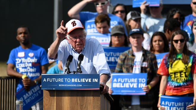 Presidential candidate Bernie Sanders speaks at a rally at Groppetti Community Stadium in Visalia on Sunday, May 29, 2016.