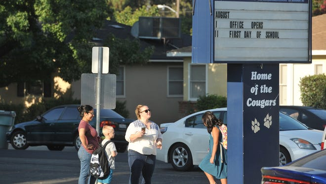 In this pre-pandemic photo, the first day of school begins at Conyer Elementary School in Visalia.