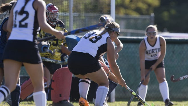 Middletown North's Hallie Hallard pops in her team's first half goal during Middletown North Field Hockey vs Freehold Township on September 16, 2016 in Middletown, NJ.
