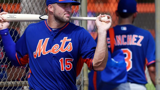 Tim Tebow, shown in this file photo from Sept. 19, hit a home run in his first official at-bat in a Florida Instructional League game against the Cardinals on Wednesday.