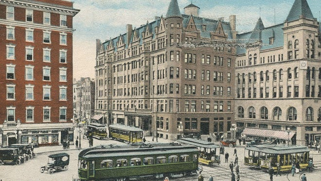 The Colonial Hotel, with its cone, went up in York's square in the 1890s and served as a backdrop for many photographs of the busy intersection. It towers over Continental Square today, sans the cone, not rebuilt after a fire.