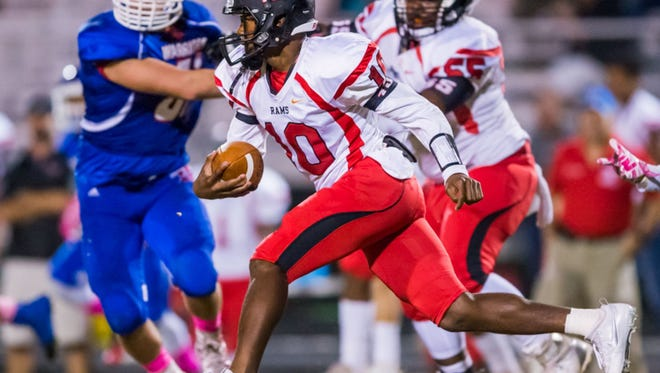 Versatile sophomore Quendarius Jefferson (10) and the Hillcrest Rams host Greenwood in a key Region 2-AAAAA game Friday night at Chandler Stadium.