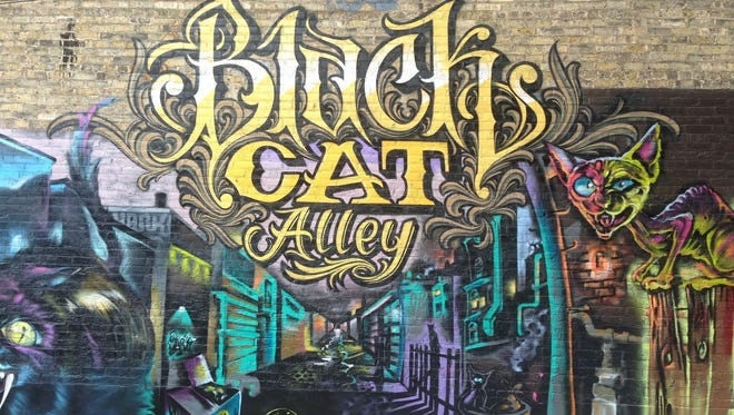 """Black Cat Alley, a collection of street art between E. Kenilworth Place and E. Ivanhoe Place across from a pair of University of Wisconsin-Milwaukee buildings, is the inspiration for the """"Street Canvas"""" project in Bay View. Members of the Walker's Point Artists' Collective painted this mural."""