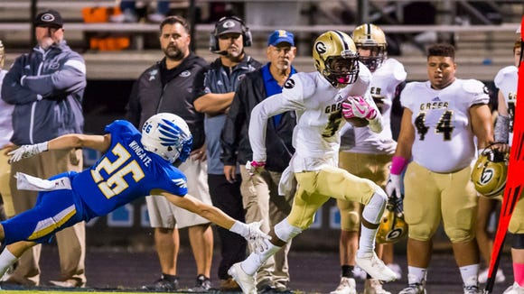 Junior wide receiver Braxton Collins (5) and the Greer