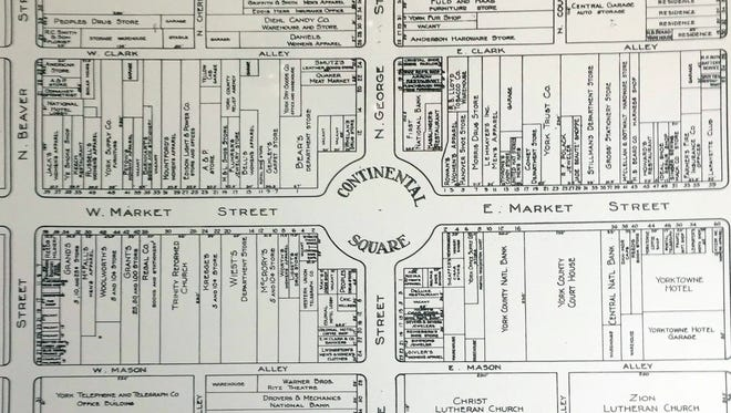 Map of Central Business Section York Pennsylvania 1933