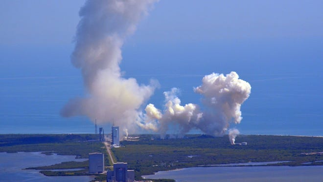 SpaceX's Falcon Heavy rocket will light up the sky Tuesday afternoon over Kennedy Space Center.