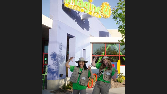 """ImagineU Children's Museum (210 N. Tipton St.) unveiled its latest attraction, a life-like replica of a Tyrannosaurus Rex, on Friday, April 20, 2018. Visitors are encouraged to take pictures with """"Reese Rex,"""" which stands about 8-feet tall and stretches 10-feet long. Mr. Rex will live in a temporary habitat while ImagineU continues raising money to construct a permanent, dinosaur-themed, interactive exhibit that is planned for 2019. ImagineU is open from 10 a.m.-5:30 p.m. Monday-Saturday, and from noon-4 p.m. on Sunday. Admission is $8. Seniors 62-plus and military members are $6, and EBT cardholders are $3 (limit 4). Children under 1 are free. Membership and donation information is available online at www.imagineumuseum.org or by calling 733-5975."""