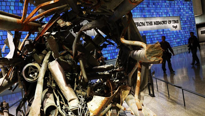 Remains of a TV and radio tower atop the North Tower of the World Trade Center