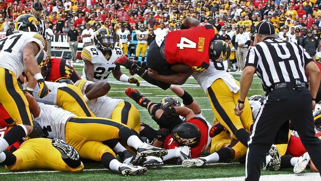 Maryland's Wes Brown with one of 6 rushing TDs vs. Iowa in the last two games