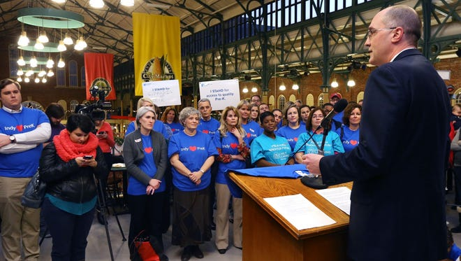 Rob Smith, president of the Lilly Foundation, speaks Monday, Dec. 1, 2014, at a rally in the north mezzanine of the City Market in Indianapolis before the City-County Council's vote that created a pre-kindergarten program for the city.