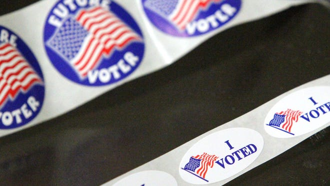 Stickers await voters at Hartland's Education Support Service Center, site of five voting precincts.