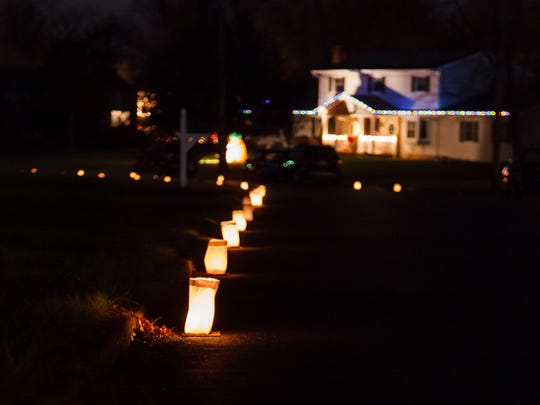 The Elliott children's luminary lanterns graced the curbs of three cul de sacs in Hillsborough.
