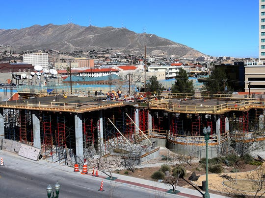 Work continues on the construction of a Marriott Courtyard Urban Hotel at Santa Fe and Interstate 10 Monday in Downtown El Paso.