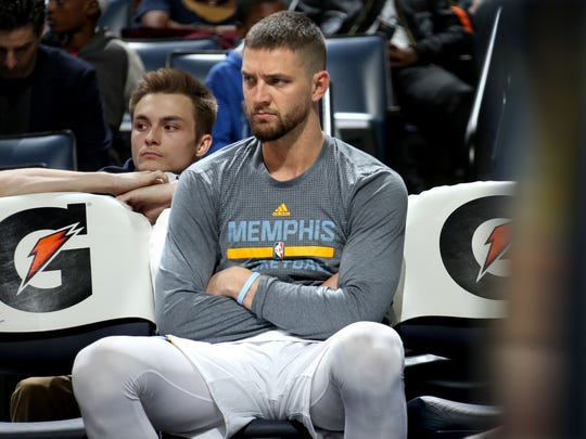 Memphis Grizzlies Chandler Parsons sits on the bench