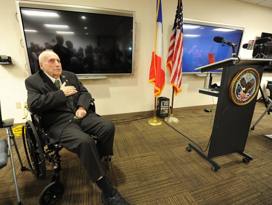 World War II veteran Ed Daul, of De Pere, received