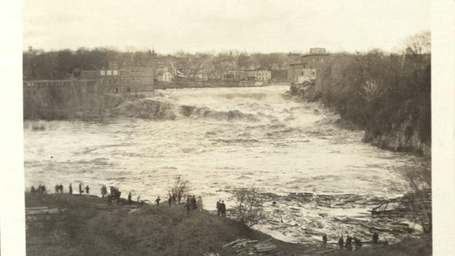 A view of the Winooski River flooding at Salmon Hole in Winooski during the 1927 flood.