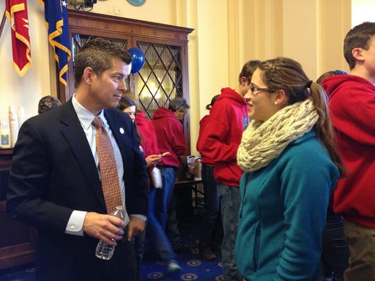 Rep. Sean Duffy, R-Wausau, talks with 19-year-old Katherine