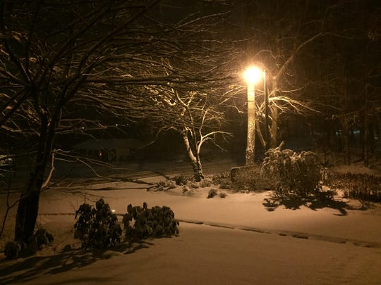 About 3 inches fell in Arden around 11:20 p.m.