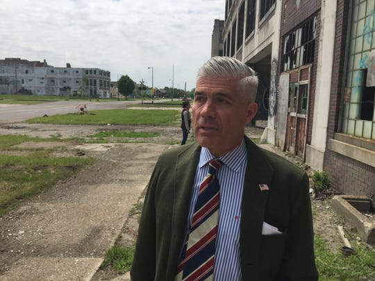 Packard Plant owner Fernando Palazuelo talks about plans to restore iconic bridge and administration building.