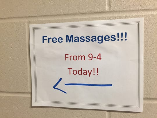 Free massages sign outside media work room