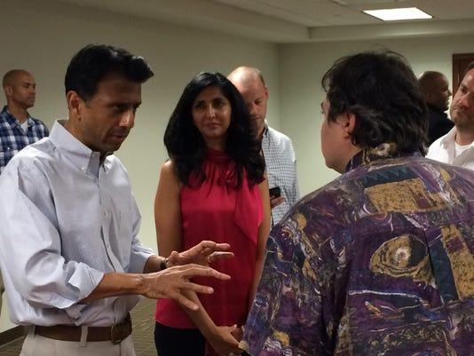 Jindal speaks to audience member