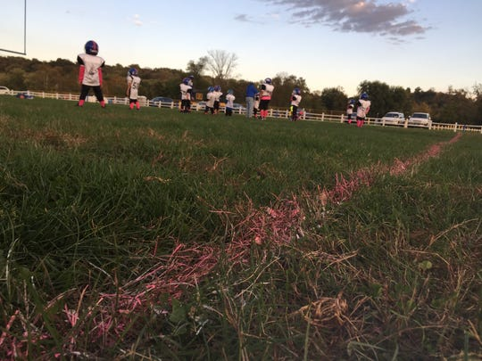 The West Rangers youth football team practice for Sunday's pink-themed game against the Rosecrans Bishops. The field lines were painted pink in honor of breast cancer awareness month.