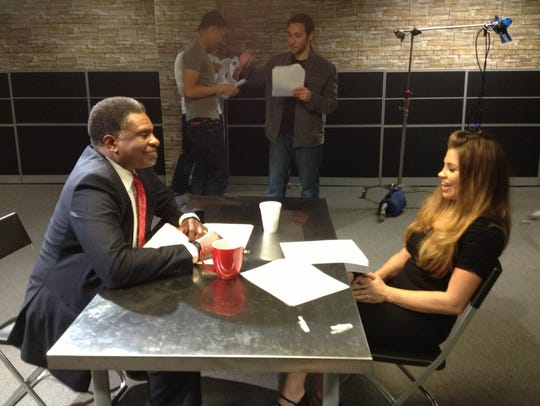 Keith David (left) and Danielle Fishel on the set of